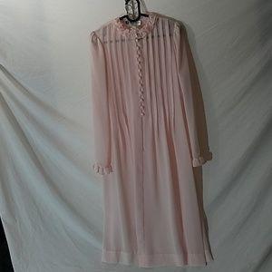 ALBERT NIPON Vintage Pink Dress w/Pintuck Pleats